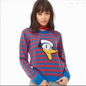 Disney x Forever 21 Donald Duck striped sweater M